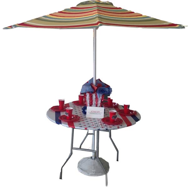 Patio Umbrella Rental: Banquet Round & Conference Tables